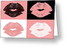 Graphic lipstick kisses Greeting Card by Blink Images