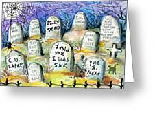 Grave Yard Greeting Card by Sylvia Pimental