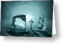 Graves In A Forest Greeting Card by Jaroslaw Grudzinski