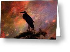 Great Blue Heron Viewing The Cosmos Greeting Card by J Larry Walker