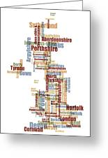 Great Britain Uk County Text Map Greeting Card by Michael Tompsett
