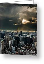 Great Skies Over Manhattan Greeting Card by Hannes Cmarits