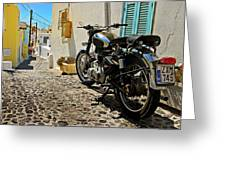 Greek Island Royal Enfield Greeting Card by Meirion Matthias