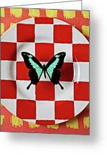 Green And Black Butterfly On Red Checker Plate Greeting Card by Garry Gay
