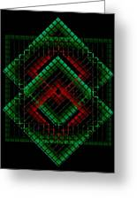 Green And Red Geometric Design Greeting Card by Mario  Perez