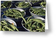 Green Beans In Tin Buckets For Sale Greeting Card by David Evans