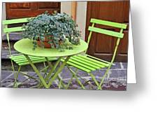Green Chairs And Table With Plant In Pot Greeting Card by Sami Sarkis
