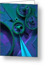 Green Gears Greeting Card by Ron Schwager