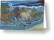 Green Horse Wave Greeting Card by Susie Morrison