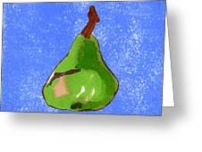Green Pear On Blue Greeting Card by Marla Saville