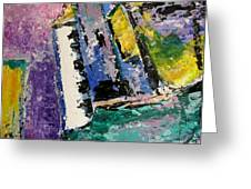 Green Piano Side View Greeting Card by Anita Burgermeister