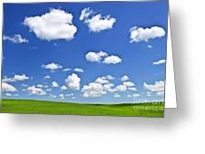 Green Rolling Hills Under Blue Sky Greeting Card by Elena Elisseeva