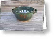 Green Soup Bowl Greeting Card by Monika Hood