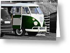 Green Vw Camper Greeting Card by Paul Howarth