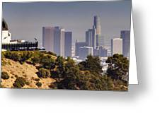 Griffith And Los Angeles Greeting Card by Ricky Barnard