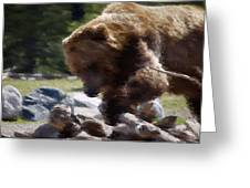 Grizz Dinner Greeting Card by Kevin Bone