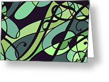 Groovy Green Abstract Swirl Design Greeting Card by Jayne Logan Intveld