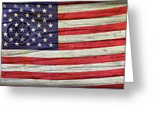 Grungy Textured Usa Flag Greeting Card by John Stephens