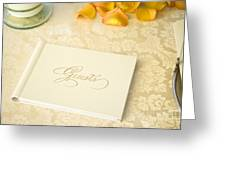 Guestbook On A Table Greeting Card by Ned Frisk