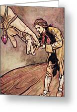 Gulliver In Brobdingnag Kissing The Hand Of The Queen Greeting Card by Arthur Rackham