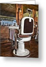 H J Barber Shop Greeting Card by Susan Candelario