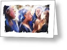 Haitian Chorus Singers Greeting Card by Bob Salo
