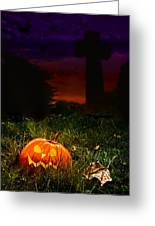 Halloween Cemetery Greeting Card by Amanda Elwell