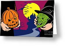 Halloween Mask Jack-o-lantern Witch Retro Greeting Card by Aloysius Patrimonio