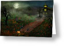 Halloween - One Hallows Eve Greeting Card by Mike Savad