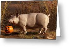 Halloween Pig Greeting Card by Daniel Eskridge