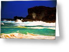 Halona Blowhole Greeting Card by Cheryl Young