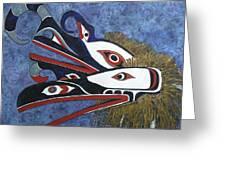 Hamatsa Masks Greeting Card by Elaine Booth-Kallweit