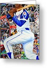 Hammering Hank Aaron Greeting Card by Michael Lee