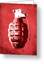 Hand Grenade On Red Greeting Card by Michael Tompsett