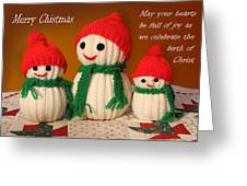 Hand Knit Snowmen Greeting Card by Linda Phelps