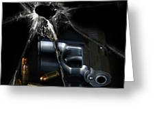 Handgun Bullets and Bullet Hole Greeting Card by Jill Battaglia