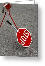 Handheld Stop Sign Greeting Card by Marlene Ford