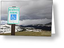 Handicap Parking Sign At A National Park Greeting Card by Bryan Mullennix