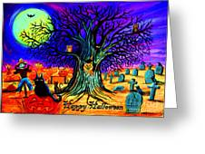 Happy Halloween Spooky Night Greeting Card by Nick Gustafson
