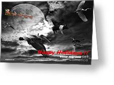 Happy Holidays . Winter Migration . Bw Greeting Card by Wingsdomain Art and Photography