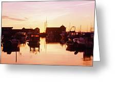 Harbor At Sunrise Greeting Card by Bilderbuch