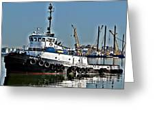 Harbor Tug Greeting Card by John Collins