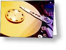 Hard Disk Detail Greeting Card by Fabrizio Troiani