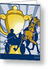 Harness Cart Horse Racing Greeting Card by Aloysius Patrimonio
