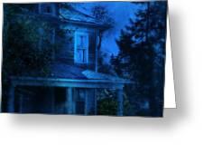 Haunted House Full Moon Greeting Card by Jill Battaglia