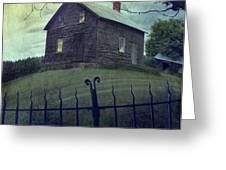 Haunted house on a hill with grunge look Greeting Card by Sandra Cunningham