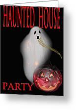Haunted House Party Greeting Card by Debra     Vatalaro