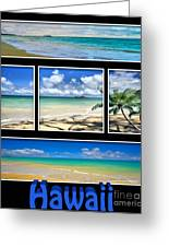 Hawaii Pentaptych Greeting Card by Cheryl Young