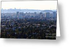 Hazy San Francisco Skyline Viewed Through The Oakland Skyline . 7d11341 Greeting Card by Wingsdomain Art and Photography