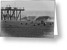 Hdr Black White Beach Beaches Ocean Sea Seaview Waves Pier Photos Pictures Photographs Photo Picture Greeting Card by Pictures HDR